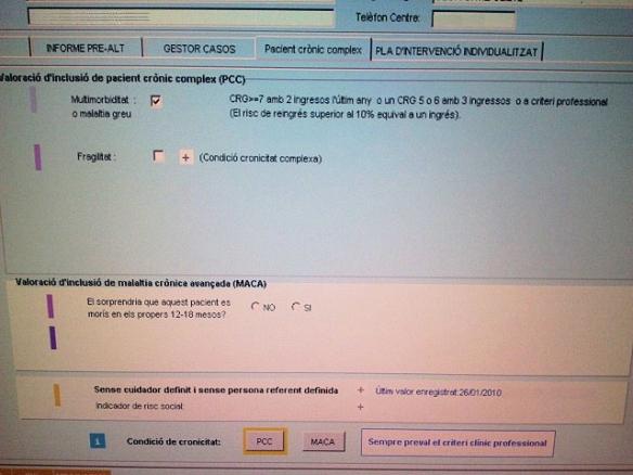 Pantalla de l'e-CAP amb la identificació del pacient MACA.